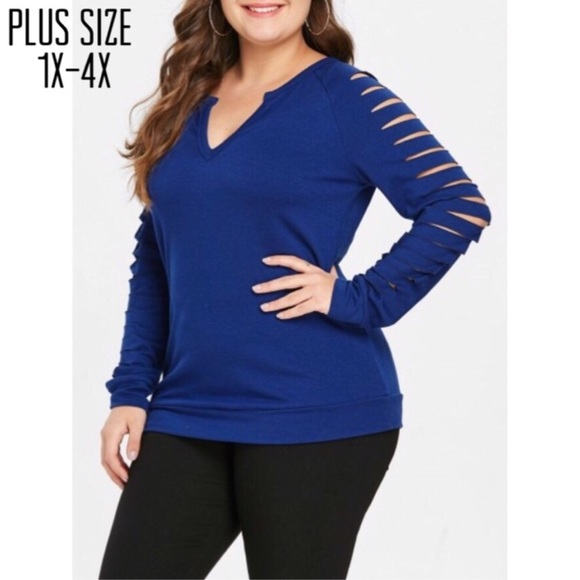 Sweaters - Plus Size Navy Ladder Sleeve Sweater